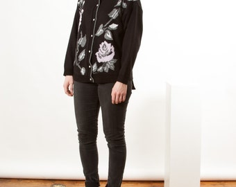 Floral Black Cardigan / Vintage Graphic Button Up Sweater / Black Knitted Jumper