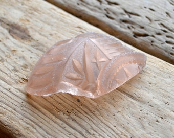 RARE EMBOSSED PEACH Sea Glass Shard - Victorian - Frosted - Decorative - Sea Glass Supplies (4054)