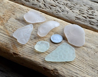 6 DECORATIVE EMBOSSED SHARDS  - Patterned Scottish Sea Glass Shards - Jewellery Supplies (1225)