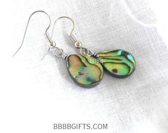 Paua Abalone Earrings Teardrop Earrings Beaded Earrings Surgical Steel Hooks French Hooks Mother of Pearl Mop