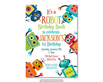 Fun Robot Birthday Invitation, Printable Birthday Invitation, DIY, Robot Party Decor, Robot Banner, Robot Party Set 1120