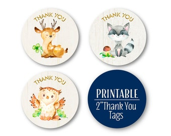 Woodland Thank You Circles, Baby Shower Printable Favour Tags, Woodland Party Decor,  Printable 0498navy