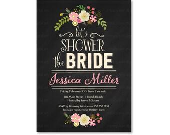 Bridal Shower Invitation, Floral Shower the Bride,  Floral Bridal Shower,  Afternoon Tea, Printable,  Digital Invitation 2427