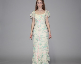 Vintage 1970s Pastel Floral Wedding Maxi Dress -  Floral Maxi Dress - Floral Wedding Dress  - WD0597
