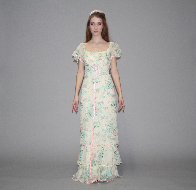 Vintage 1970s Pastel Floral Wedding Maxi Dress Floral Maxi