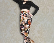 Statement Ladies Cigarette Trousers with Cut Away Pockets and Chiffon Belted Waist
