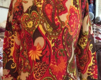 Vintage 1960s Sweater Tami Original Label Hand Screen Print Paisley Print All Wool