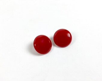 Vintage Earrings / Bakelite Earrings / Red Bakelite Cherry Red Earrings / 1930s Earring 1940s Earrings 1930s Bakelite Clip Earrings