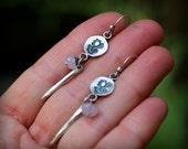 Mali Dangle Earrings with Amethyst - Fine Silver, Bali, Ethnic, Indonesian, Indian, Balinese Inspired, Polynesian, Flower, Simple Earrings