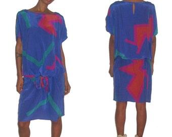 Vintage Designer Flora Kung Blue Multi-Color Abstract Print Cut Out Shoulder Drop Waist Silk Dress