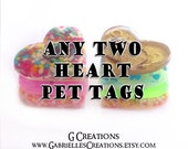 ANY TWO Heart Pet Tags Bundle - 3.2 cm Personalized Pet ID - Glow in the Dark - Colorful Glitter Sprinkles Pet Collar Accessory - Set Pack
