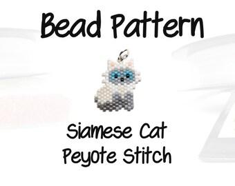 Siamese Cat Delica Seed Bead Pattern, Peyote Beading | DIGITAL DOWNLOAD