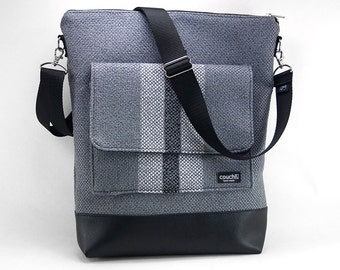 Vintage Center Stripe Vertical Bag by Couch- Charcoal
