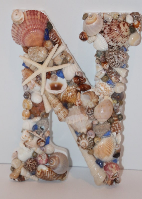 Shell letter n wall decor white and seashells for Letter n decorations