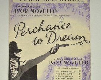 Ivor Novello, Perchance to Dream, Vintage Sheet Music, Piano Selection, 1940s, 1945, Music Ephemera, Lilac Cover