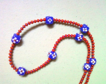 Red and Blue Flowered Necklace (0467)