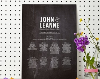 PRINTABLE Chalkboard Wedding Seating Table Plan