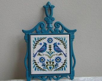 Vintage Metal Trivet Birds Turquoise Periwinkle Blue, Cast Iron Ceramic Tile by Cherry Japan,  Danish Modern Scandinavian Folk Art
