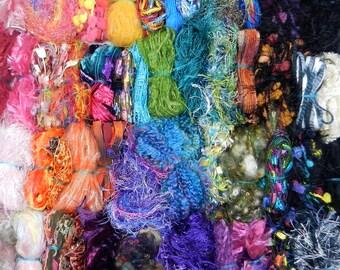 Fiber for Embellishments - 50 fibers/100 yds. - Grab Bag - Scrapbooking, Fiber Art, Knit/Crochet, Felting, Jewelry Making, Embellishing #134