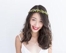 mr twiggles hair wreath - garden // woodland collection, berry twig headpiece, wedding hair accessory, headband, hair rose halo, crown.
