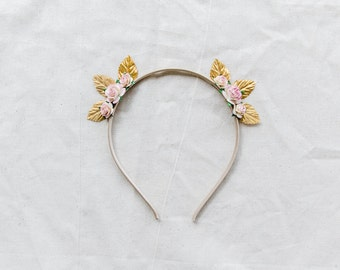 pink & metallic gold cat ear headband flower crown fascinator // minimalist floral headpiece spring racing