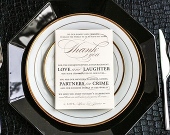 "Neutral Wedding Decor, Wedding Reception Thank You, Place Setting Table Decor - ""Classic Romance"" Reception Thank You Sign 5 x 7 - DEPOSIT"