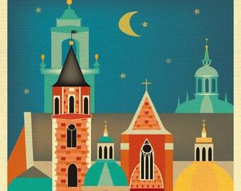 Krakow Print, Krakow Poster, Wawel Castle Art, Poland Art, Krakow Skyline Print, Krakow souvenir art, Krakow Travel Gift - style E8-O- KRA