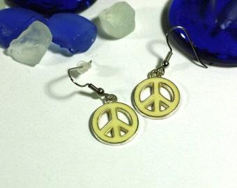 White Enamel Peace Sign Charm Earrings - White Peace Earrings