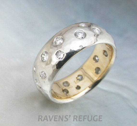 Starry Night Engagement Ring Flush Set Diamonds In Hammered