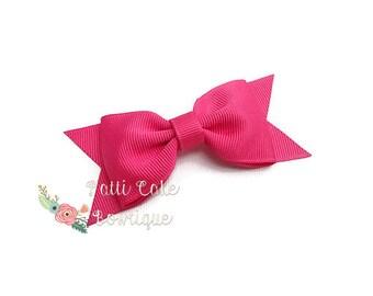 Pink Hair Bow Clip, Girls Hair Bows, School Hair Bows, Honeysuckle Pink Bow, Baby Hair Bow, Toddler Bows, Pink Hair Clip, Baby Girl Hair Bow