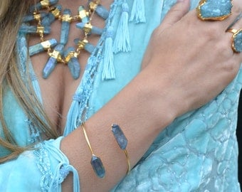 AQUA AURA Bracelet Cuff /// Electroformed Bangle, Bohemian Jewelry, Crystal Gemstone Wrap