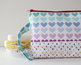diaper and wipes clutch -- rainbow hearts