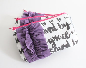 mini ruffle clutch -- saved by grace