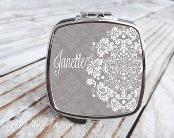 Bridesmaids Gift - Compact Mirror - Vintage Gray Lace Damask