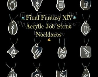 FFXIV Job Stone Necklaces - Clear Acrylic Pendants w/ Waxed Cotton Cord Chain - Great for Fans of the Game!