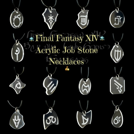 Ffxiv job stone necklaces clear acrylic pendants w waxed like this item mozeypictures Image collections