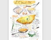 French omelette recipe print, 8X10 print, Kitchen art, Food illustration, Illustrated recipe, Watercolor print, Food painting, Kitchen decor