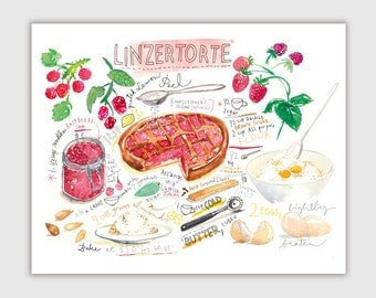 Linzertorte recipe print, Illustrated recipe painting, Watercolor pie poster, Kitchen wall art, Food print, Cake painting, Bakery art print