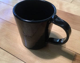 Gloss Black Coffee Mug - handthrown stoneware, medium