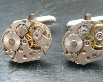 Stunning oval watch movement cufflinks ideal gift for christmas