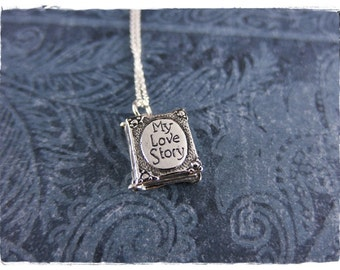 Silver My Love Story Book Necklace - Sterling Silver My Love Story Charm on a Delicate Sterling Silver Cable Chain or Charm Only