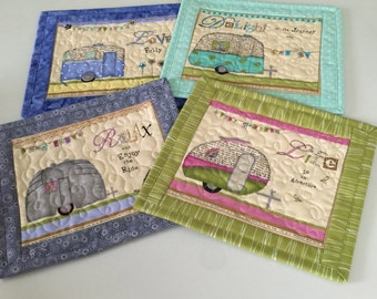 Quilted Camper Mug Rugs Snack Mats Quiltsy Handmade