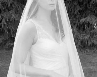 Wedding Veil - English Tulle Chapel Length Drop Two-Tier Mantilla