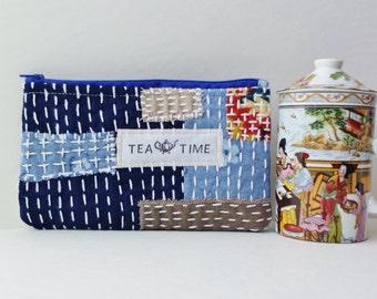 Sashiko Tea bag wallet, Tea Time zipper pouch, Travel tea case, Sashiko stitching Blue cotton fabric bag Tea lover eco gift, Tea Time