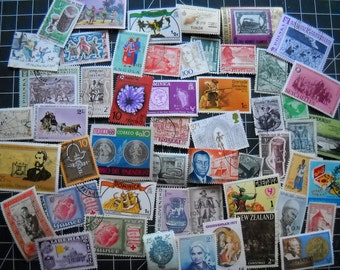 50 Worldwide Used Postage Stamps for paper crafting philately collage cards scrapbooks  scrapbooks decoupage, stamp collecting 18c