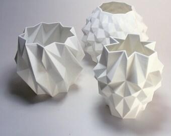 Ornamental Planter Gift Ideas, polygon planters, fractured planter, facet pots for plants, 3d printed planter, geometric planter gift