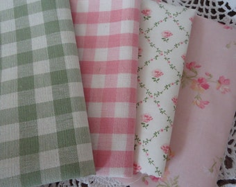 Laura Ashley Fabric Patchwork Pack Pink and Green + Bonus Embellishments