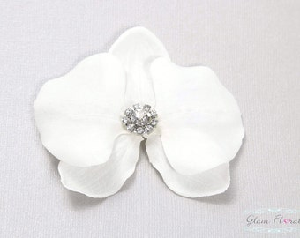 White Orchid Hair Clip, Phalaenopsis Hair Pins with rhinestone crystal Bridal Flower Hair Combs, Fascinators white or purple orchids