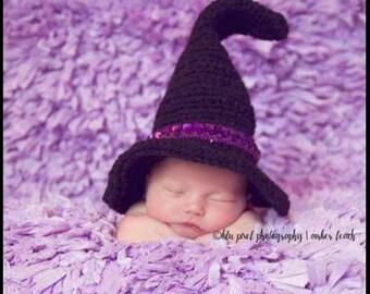 Newborn witch hat photo prop | Kids crochet witch hat | Newborn Crochet Halloween witch hat photo prop