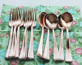 Sample 3 ASSORTED FAUX COPPER Cutlery Plastic Forks Spoons Knives Modern Tableware Rose Gold Vintage Style Wedding Shower Party Shabby Chic